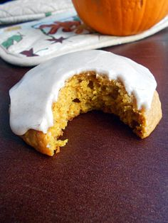 Iced Pumpkin Cookies: 2 c. flour, 1 1/2 t. baking powder, 1 t. baking soda, 1/4 t. salt, 1 t. cinnamon, 1/2 t. nutmeg, 1/4 t. ginger, dash of allspice, 2 eggs, 1 c. brown sugar, 1/2 c. canola oil, 1 c. pumpkin, 1 t. vanilla.