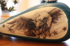 airbrushed motorcycle tanks | ... eagle artwork. This tank is classy with its monochromatic look Custom Paint Motorcycle, Motorcycle Tank, Airbrush Designs, Airbrush Art, Eagle Artwork, Custom Tanks, Helmet Paint, Custom Helmets, Custom Choppers