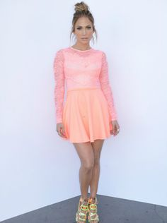 JENNIFER Lopez is stunning in a pink mini skater dress, priced at just £45. #JenniferLopez #dress #fashion #celebrity #celebs #PinkDress If you'd like to buy this for yourself click the following link to visit our blog for more information: http://www.celebstylestalker.com/jennifer-lopez-in-asos-for-live-taping-of-american-idol-07052014/