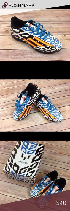 Adidas Messi Cleats Soccer NEW NIB Adidas Messi soccer cleats size 13 item is new in the box. Color is blue with orange and black pattern on white. Adidas Shoes