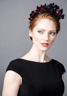 Rachel Trevor Morgan AW 2014 R14W23 - Black velvet ivy headpiece