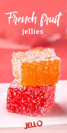 Jelly candy recipe - French Fruit Jellies Delight your taste buds with these tasty JELLO® bites Check out this recipe to learn how simple these fruity treats are to make! Jello Desserts, Jello Recipes, Avocado Recipes, Fudge Recipes, Potato Recipes, Fish Recipes, Gelatin Recipes, Jello Salads, Thermomix Desserts