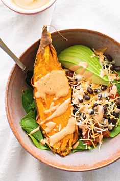 Sweet Potato Burrito Lunch Bowls - ¼ - ½ of a sweet potato, baked handful of spinach or kale ¼ - ½ of an avocado a few tbsp of black beans or chickpeas, etc. 1-2 tbsp salsa sprinkle of cheese (sharp cheddar, feta, etc.)