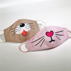 Face Masks For Kids, Easy Face Masks, Diy Face Mask, Crochet Mask, Crochet Faces, Sewing Hacks, Sewing Crafts, Mouth Mask Design, Animal Face Mask
