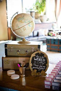 Guest book globe. Where in the world am I sitting? Cute