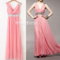 Long Chiffon Prom Dresses With Beading