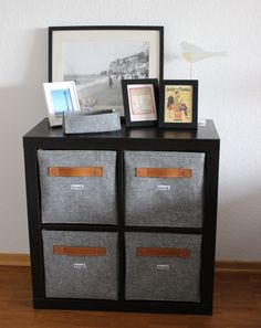 Designer Regalbox aus Filz mit Ledergriff Filz hellgrau , Lederfarbe Cognac 33 x 33 x 33 cm  www.stich-haltig.com @Etsy  http://etsy.me/1j8rmKO