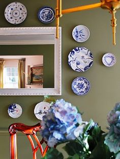 "My previous dining room - Farrow and Ball ""Olive"" paint color. Blue and white plates.  TeresaMeyerinteriors.com"