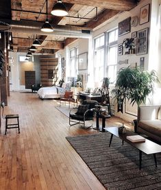 I wish we had bachelor lofts like this in Toronto for a reasonable price, this is unbelievable, I would buy one for myself not just sell them! Home Interior, Interior Architecture, Apartment Interior, Contemporary Interior, Apartment Ideas, Loft Style, Deco Design, Studio Design, Home Fashion