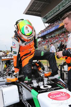 Checo gets in the car - 2014 Spanish GP