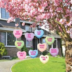 Valentine's Lawn Decorations - Hanging Candy Hearts (Set of 9) VictoryStore #Valentinesday Valentines Day #Valentinesdayideas