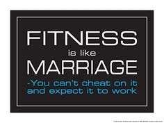 Fitness Is Like Marriage 18 X 24 Poster BlueWhiteBlack -- Read more  at the image link.