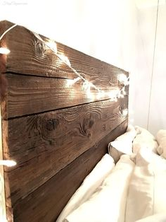 Rustic Headboard With Hanging Bedside Table