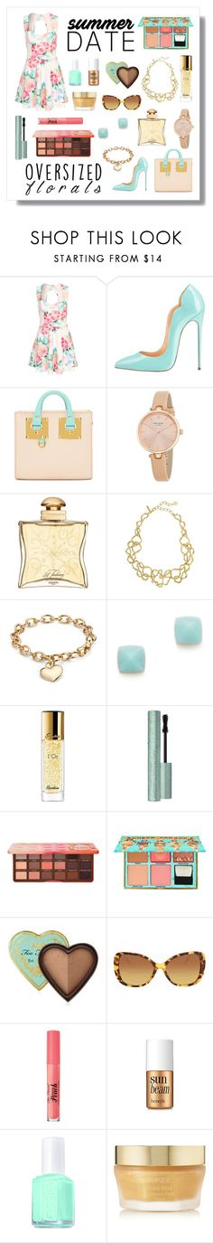 """""""Summer Date"""" by pr267 ❤ liked on Polyvore featuring Sophie Hulme, Kate Spade, Hermès, Oscar de la Renta, Blue Nile, Michael Kors, Guerlain, Too Faced Cosmetics, Benefit and Burberry"""