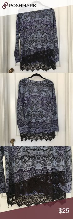 """Live & Let Live Tunic Top w/Lace Trim Size Large Brand:  Live & Let Live Size:  Large Color:  Blue/Black Style/Specifics:  Long Sleeve Tunic Top - Hi-Lo Hem - Lace Trim - Floral/Paisley Print  ALL MEASUREMENTS ARE APPROXIMATE AND TAKEN WITH GARMENT LAYING FLAT  Armpit to Armpit 22"""" Bottom of Hem from Hip to Hip 25"""" Length 26.5""""/30.5"""" Sleeves 25"""" Live & Let Live Tops Tunics"""