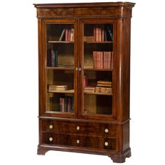 Antique Italian Walnut Bookcase with Glass Doors