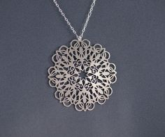 Snowflake - Hand Cut Sterling Silver Pendant by IntricateCuts in Fairview, Oregon