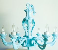 Items similar to Tiffany Blue Light Chandelier on Etsy