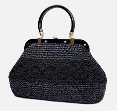 Lefcort vintage handbag large black raffia satchel with bakelite handles Italy #Lefcort #Satchel