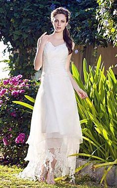 A-line V-neck Asymmetrical Organza Wedding Dress – USD $ 199.99