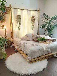 Modern Bohemian Bedrooms & Home Interior Decor Ideas Dream Rooms, Dream Bedroom, Home Bedroom, Master Bedrooms, Master Suite, Girl Bedrooms, Bedroom Furniture, Nature Bedroom, Bedroom 2018