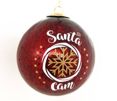 "Santa Cam Christmas Ornament - Large 4"" Dark Red Crackle Christmas Ball - Christmas Game Gift for Kids, Fake Camera for Santa, Holiday Decor by LEVinyl on Etsy"