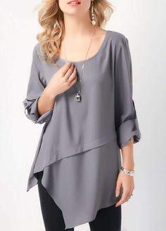 Fashion Irregular Long sleeve T-Shirts - ClothingI Chemise Fashion, Grey Blouse, Summer Blouses, Blouse Designs, Dress Designs, Dress Patterns, Sewing Patterns, Shirt Style, Ideias Fashion