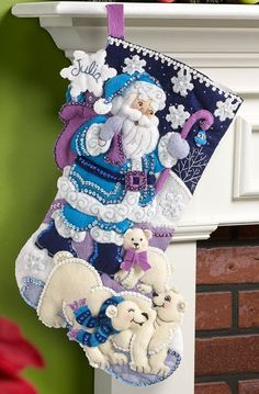 "Bucilla"" ARCTIC SANTA"" Felt Christmas Stocking Kit-NEW RELEASE 86653 18""  #BucillaPlaid"