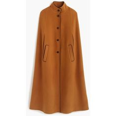J.Crew Wool-Cashmere Cape ($790) ❤ liked on Polyvore featuring outerwear, cape coat, woolen cape, cashmere capes, wool capes and hooded cape coat