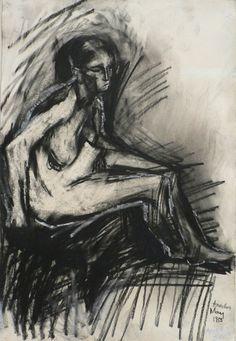 Seated Nude, Frank Auerbach | Hazlitt Holland-Hibbert | Dealers in twentieth century painting, drawing and sculpture