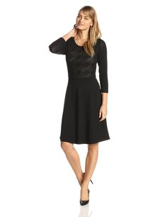 3/4 Sleeve Stitched Fit and Flare Sweater Dress by Anne Klein
