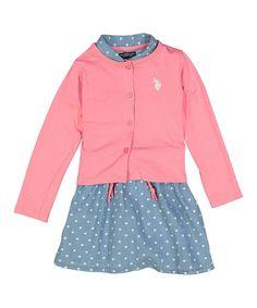 Coral Shirt Dress Shrug Set - Toddler