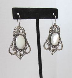 Silver and MOP Vintage Drop Earrings by MullerGlass on Etsy