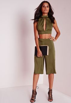 Missguided - Satin Feel Culottes Khaki Green