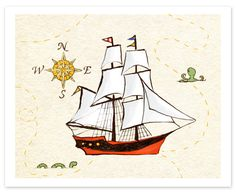 PRINT (for boys' bath): Sailing Adventure