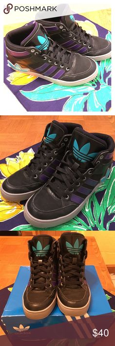 Adidas High Tops Barely been worn, in great condition! The shoes are to big for my feet despite how comfortable they are! Original price was $75 Adidas Shoes Sneakers