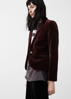 Velvet blazer - Jackets for Woman | MANGO USA
