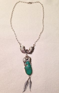 Vintage Signed Navajo TJW T.J.W. Sterling Silver Turquoise Squash Blossom Necklace on Etsy, $195.00
