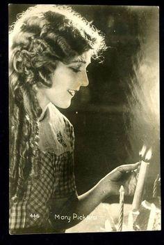 "Vintage MARY PICKFORD ""Lighting Candles""  Swedish Postcard 1920s ""Delightful"""