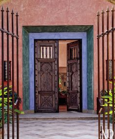 Designer Peter Roy Bowman and the clients shopped together for this Punta Mita, Mexico, home's sculptural details. The 19th-century front doors are from a residence in Mexico Cit