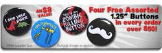 Happy Friday, Goodie peeps!! For a limited time, get 4 free awesome packed Goodie buttons with any order over $50!