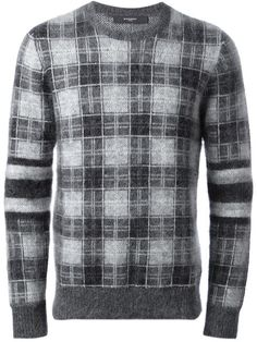 Givenchy plaid jumper, Tonal grey mohair blend jumper from Givenchy featuring a crew neck, long sleeves with horizontal striped at the elbow, a plaid pattern and a ribbed hem and cuffs. Mens Shawl Collar Cardigan, Mens Cable Knit Sweater, Cashmere Sweater Men, Mens Turtleneck, Polo Sweater, Sweater Jacket, Men Sweater, Jumper, Pullover Designs