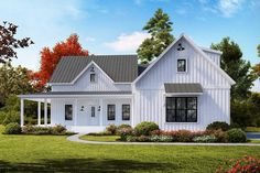 Modern Farmhouse Plan with Open Concept Layout and a Bonus Room - . - House Plans, Home Plan Designs, Floor Plans and Blueprints Farmhouse Layout, Modern Farmhouse Plans, Farmhouse Design, Farmhouse Front, Farmhouse Fireplace, Farmhouse Ideas, Farmhouse House Plans, Southern Farmhouse, Farmhouse Bedrooms