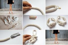 DIY Refashion High Heel Sandals with Knotted Rope Ankle Straps, Strap Heels, Diy Projects Using Rope, Rope Sandals, Diy Step By Step, Old Jeans, Couture, Spice Things Up, Diy Things
