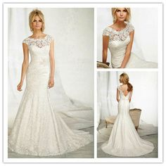 2013 Latest Gorgeous Sexy Mermaid Fishtail Backless Lace Short Sleeves Bridal Wedding Dress MLW-505 $190.00