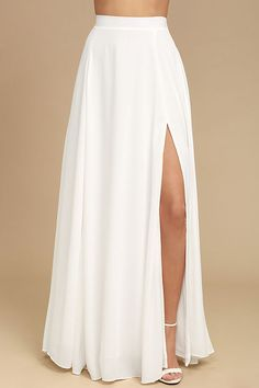 Lulus Exclusive! The Thoughts of You White Two-Piece Maxi Dress is always on our mind! Soft and breezy woven poly swings from adjustable straps into a crop top with a lace-up back. Matching high-waisted maxi skirt boasting a full silhouette and sexy side slit. Hidden zipper and elastic at back for fit.
