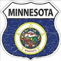HS-131 Minnesota State Flag Highway Shield Aluminum Metal Sign
