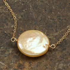 Goldfill Yellow Coin Pearl Necklace (14k, 12 mm) | Overstock.com