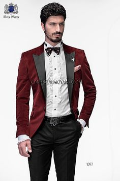 Italian bespoke burgundy fashion suit in 100% polyester fabric with black satin peak lapel; coordinated with black viscous-polyester trouser, style 1097 Ottavio Nuccio Gala, 2015 Emotion collection