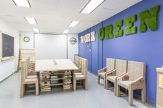 Furniture and decor made by Petula Plas with recycled materials from the General Motors factory